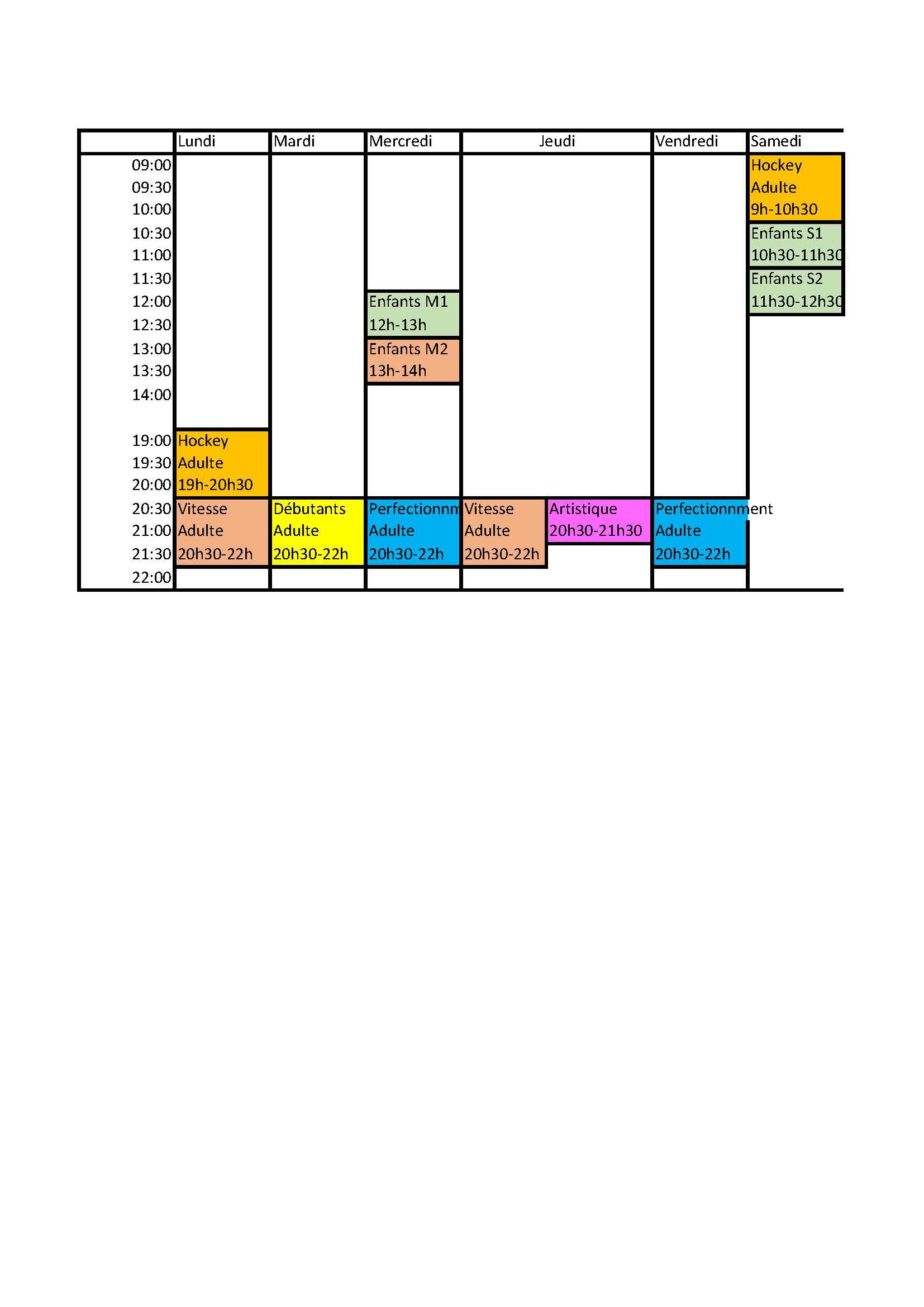 planning des cours SMR